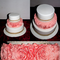 I Made This As An Engagement Cake For One Of My Best Friends A Peach Coloured Ruffle Rose Feature Tier Between 2 Ivory Tiers Trimmed With  I made this as an engagement cake for one of my best friends.. a peach coloured ruffle rose feature tier between 2 ivory tiers trimmed with...