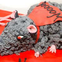 "Wrestling Rat A rat ready for the wrestling ring.......a ""goodbye"" cake for a co-worker.... Blood red filling inside (of course!)"