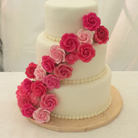 My First Attempt At A Round Stacked Cake With Fondant Most Of The Sugar Flowers Were Purchased I Made 5 Of Them I Know Its Not Much B My first attempt at a round stacked cake with fondant. Most of the sugar flowers were purchased, I made 5 of them. I know it's not...