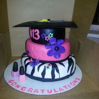 Cosmetology Graduation Cake With Shears On Top Of The Hat   Cosmetology graduation cake with shears on top of the hat