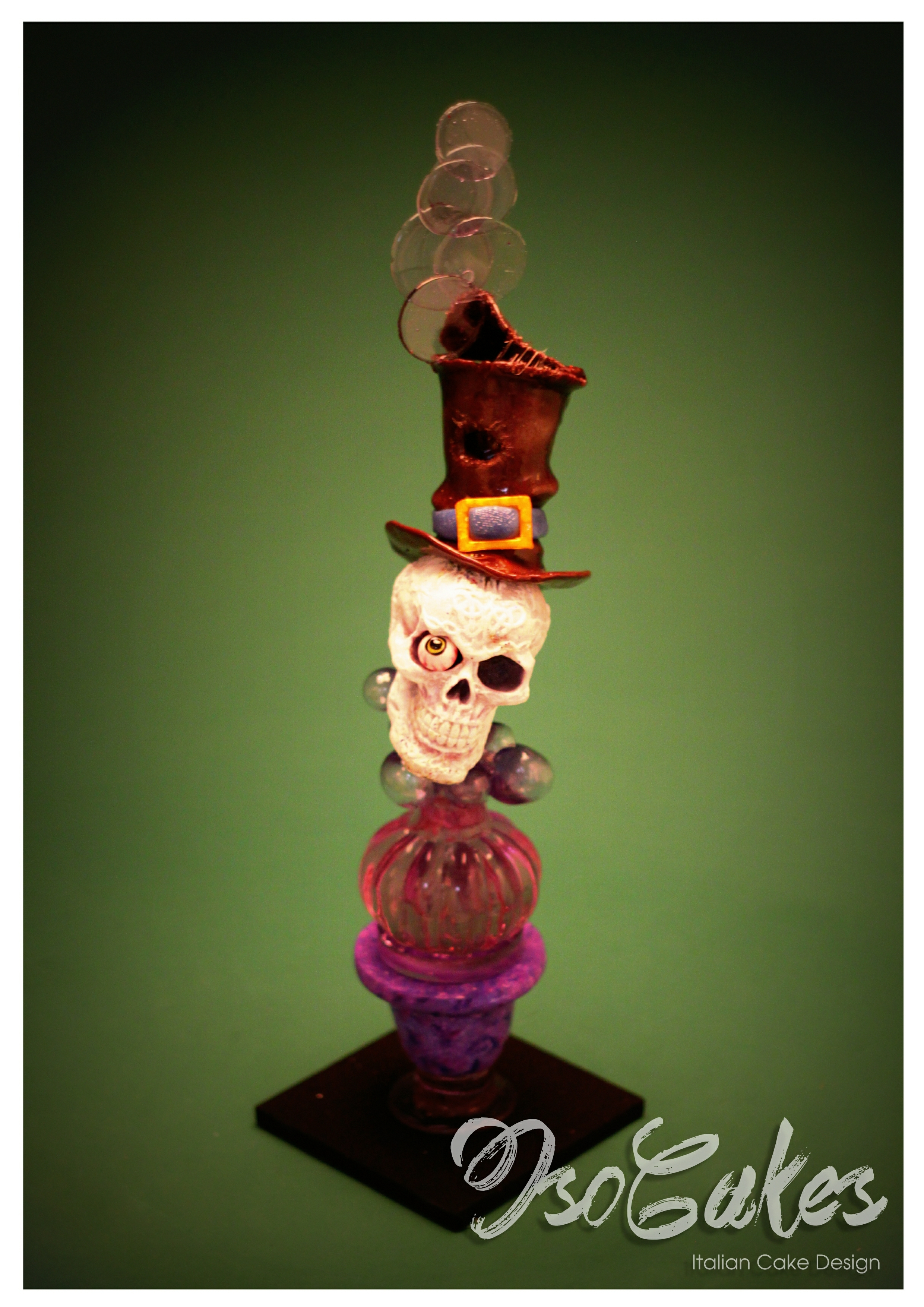 Halloween Time!   Fondant Head with blown and pulled sugar.
