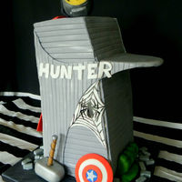 Stark Tower Cake 15 inch tall carved mud cake. The base of the tower is a 6 inch square.