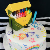 Crayon Rainbow Doodle Cake  Hand painted cake. Topper is made from RKT, and mostly fondant. The box lid is made with gumpaste. Inside is rainbow cake! So much colour...