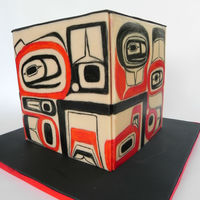 Pacific Coast Tribal Art Handpainted fondant panels attached to buttercream. 6 inch square cake just over 6 inches tall. I didn't give myself very much time...