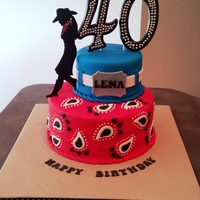 My First Two Tiered Cake The Request Was For A Western Themed 40Th Birthday I Had Free Rein On The Design The Recipient Loved It Her Wo My first two tiered cake. The request was for a Western themed 40th birthday. I had free rein on the design. The recipient loved it!! Her...