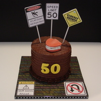 "6 X 5 Tall Fun Cake For A Friends Uncle Who Was Turning 50 Buttercream Icing Detailed With A Groove Tool Chocolate Wafer Melts Used F 6"" x 5"" tall fun cake for a friend's uncle who was turning 50. Buttercream icing detailed with a groove tool. Chocolate..."
