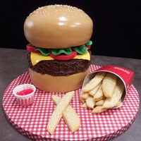 Cheeseburger And Fries Buns And Toppings Are Fondant Used Textured Chocolate Ganache For The Burger Real Sesame Seeds On Top Fries A Cheeseburger and Fries. Buns and toppings are fondant. Used textured chocolate ganache for the burger. Real sesame seeds on top. Fries are...