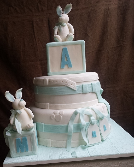 Baby Showers   Rabbit modeled in fondant.. Baby showers twins