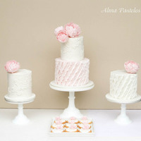 Wedding Cake Trio Blush pink and white wedding cake Trio