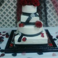 Round And Square Alternating Tier Wedding Cake Round and Square alternating tier wedding cake