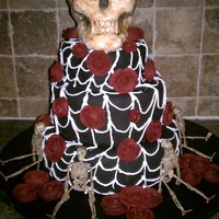 Holidays skull and roses halloween cake