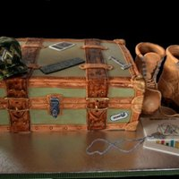 Army Footlocker For Going Into The Army Party. I made this Army footlocker cake for a friend who was going into the Army. She was going into intelligence, which is why there are papers...
