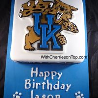 Uk Wildcats Cake Logo hand cut from fondant and hand painted
