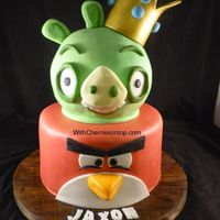 Angry Birds Angry Birds cake for a lucky 6 year old, sphere is covered in ganache