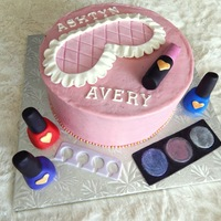 Makeup/spa Party Birthday Cake I LOVED making the gumpaste makeup and spa mask for this cake!!! Dry luster dust worked great for the eye shadow. Cake is all vegan......