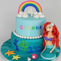 A Little Girl Who Loves Ariel And Rainbows Turned 4 So She Got Them Both On Her Cake This Was My First Human Hand Modeled Figurine So F A little girl who loves Ariel AND Rainbows turned 4. So she got them BOTH on her cake :) This was my first human hand-modeled figurine. So...