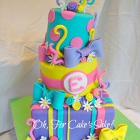 Bright & Colorful Birthday Cake All décor is fondant and/or gumpaste. TFL!