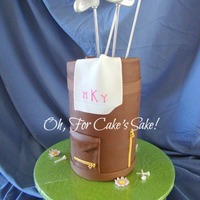 Golf Bag Birthday Cake Everything is edible except for the club handles (they are dowels).