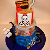 Pirate Birthday Cake Arg Mateys! Double birthday (ages 6 & 1) Pirate cake!