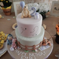 Vintage Winnie The Pooh Birthday Cake All of the characters are modeled by hand from gumpaste. TFL!