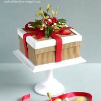 Holly And Mistletoe Christmas Box Cake A very Happy Christmas to everyone! This is my Christmas cake for this year and I also taught it at Fair Cake last Saturday. The box and...
