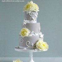 Yellow Roses And Swirls Cake This cake is my own original design that I made in August and is on my website and flickr site. I love the grey and yellow combination and...