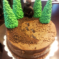 Trees Are Pretzel Rods For The Trunks Ice Cream Cones As The Base And Royal Icing Leaves Bigfoot Is Modeling Chocolate And The Dirt Is Cr  Trees are pretzel rods for the trunks, ice cream cones as the base and royal icing leaves. Bigfoot is modeling chocolate and the dirt is...