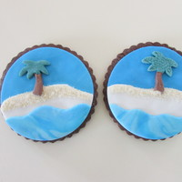 Summer Cookies Desert island style cookies - my first attempt at making a desert island cookie - lots of fun