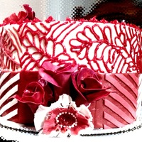 Red Chevron And Flora Cake