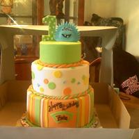 "Monster Themed   *gumpaste monster and number ""1"",MMF,SMBC,chocolate,redvelvet,and white"