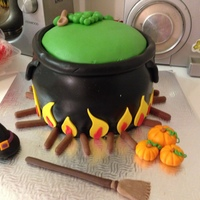 Cauldron Cake This is the cake I have made for my Mum in laws birthday tomorrow. It is a 3 layer choc cake with raspberry buttercream filling. I am a...