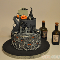 Gray And Orange Halloween Cake Gray and orange Halloween cake