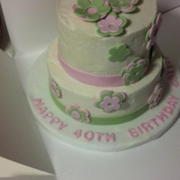 Flower Appliqué Birthday Cake   Buttercream filling and covering with fondant details