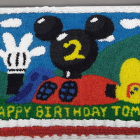 Mickey Mouse House Cake Star-tipped-frosted birthday cake. My hand was cramped after that! :)