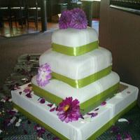 4Tier Square Green Purpleflowers