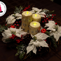 Christmas Candle Cake Center Piece Christmas Candle Cake Center Piece! In the center of a Christmas wreath, are three candles completely made of cake!