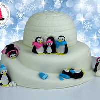 3D Igloo Cake With Fondant Penguins! 3D Igloo Cake With Fondant Penguins!