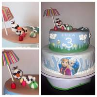 Frozen Cake With Top Tier Olaf In Summer Frozen cake with top tier Olaf in summer