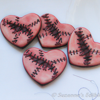 Broken Heart Stitched Cookies Inspired by Montreal Confections broken heart stitched cookies.