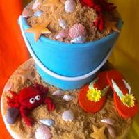 Beach Bucket Cake Beach Bucket Cake. Gumpaste Flip flops, fondant crabs, shells, & rocks. Sand is a mixture of graham crumbs & golden yellow sugar.