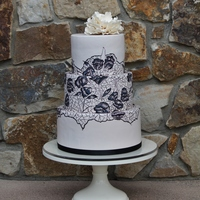 Hand Painted Lace Wedding Cake With Sugar Peony   Hand painted lace wedding cake with sugar peony