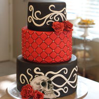 Gothic Rockabilly Wedding Cake With Sugar Roses Filigree And A Hand Painted Skull By Sweet And Swanky Cakes Gothic rockabilly wedding cake with sugar roses, filigree and a hand painted skull, by Sweet and Swanky Cakes