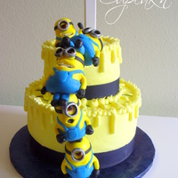 Despicable Me Cake With Stacked Mmf Minions Despicable Me cake with stacked MMF minions.