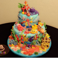 Under The Sea Cake A 6 inch cake on top of 10 inch fondant covered and decorated with gumpaste and fondant 3D sea animals : Nemo, octopus,fishes,shark,lobster...