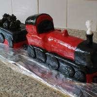 I Am New To Cake Decorating And This Was One Of My First Cakes *Fathers day train cake, with edible steam and coal, my 3rd cake, cake number 3