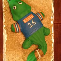 Gator Birthday Cake Please critique. This is my first sculpted, mm fondant covered cake. I used a Christmas tree cake pan for the head, 13x9 pan for the body,...