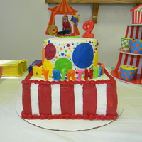 Circus Birthday i made this for my daughters 2nd birthday party. all buttercream with wilton photo cake topper and happy birthday candles
