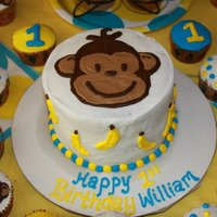 Mod Monkey Birthday i made this cake and cupcakes for my friends son. all buttercream