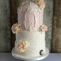 A Birdcage With Sweet Avalanche Style Roses!