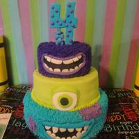 Monster's University  Monster's University Cake- Top tier- Art with marble cake, buttercream filling, buttercream frosting, and fondant mouthMiddle tier-...